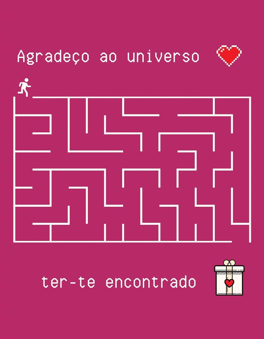 Rótulo de dia dos namorados, com labirinto
