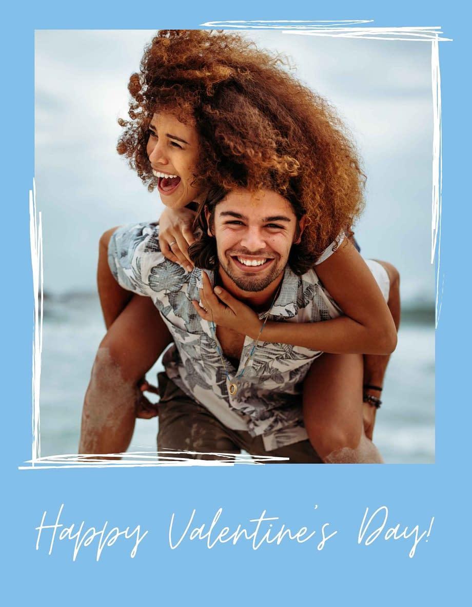 Rótulo de dia dos namorados, com foto em fundo azul