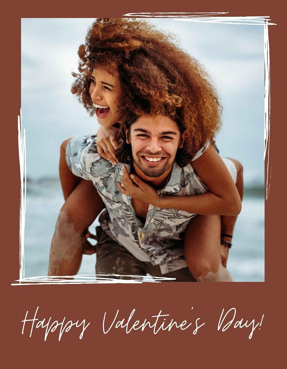 Rótulo de dia dos namorados, com foto em fundo castanho