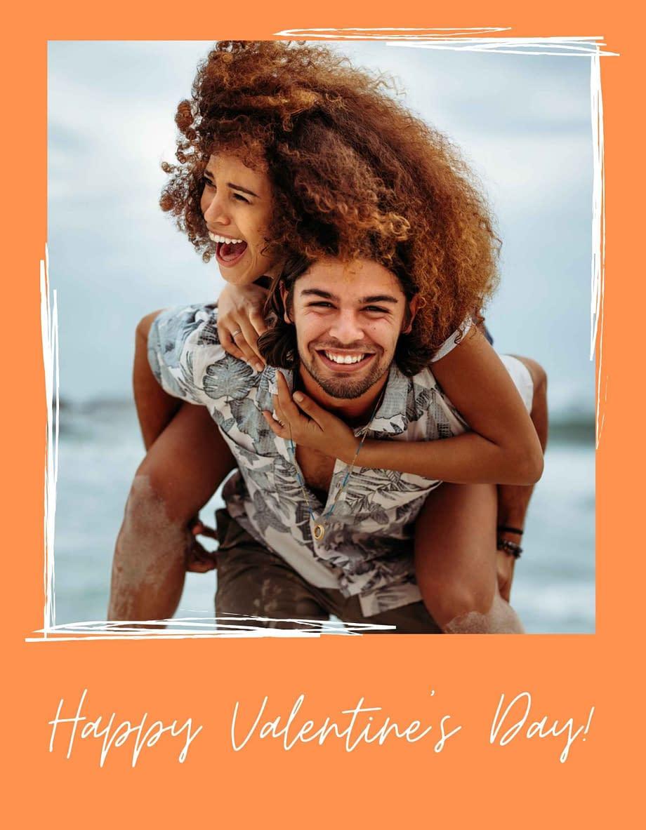 Rótulo de dia dos namorados, com foto em fundo laranja