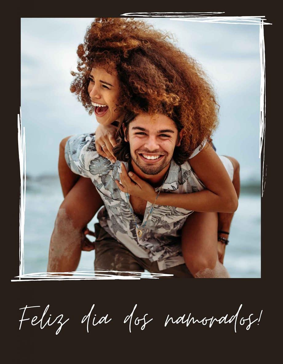 Rótulo de dia dos namorados, com foto em fundo preto