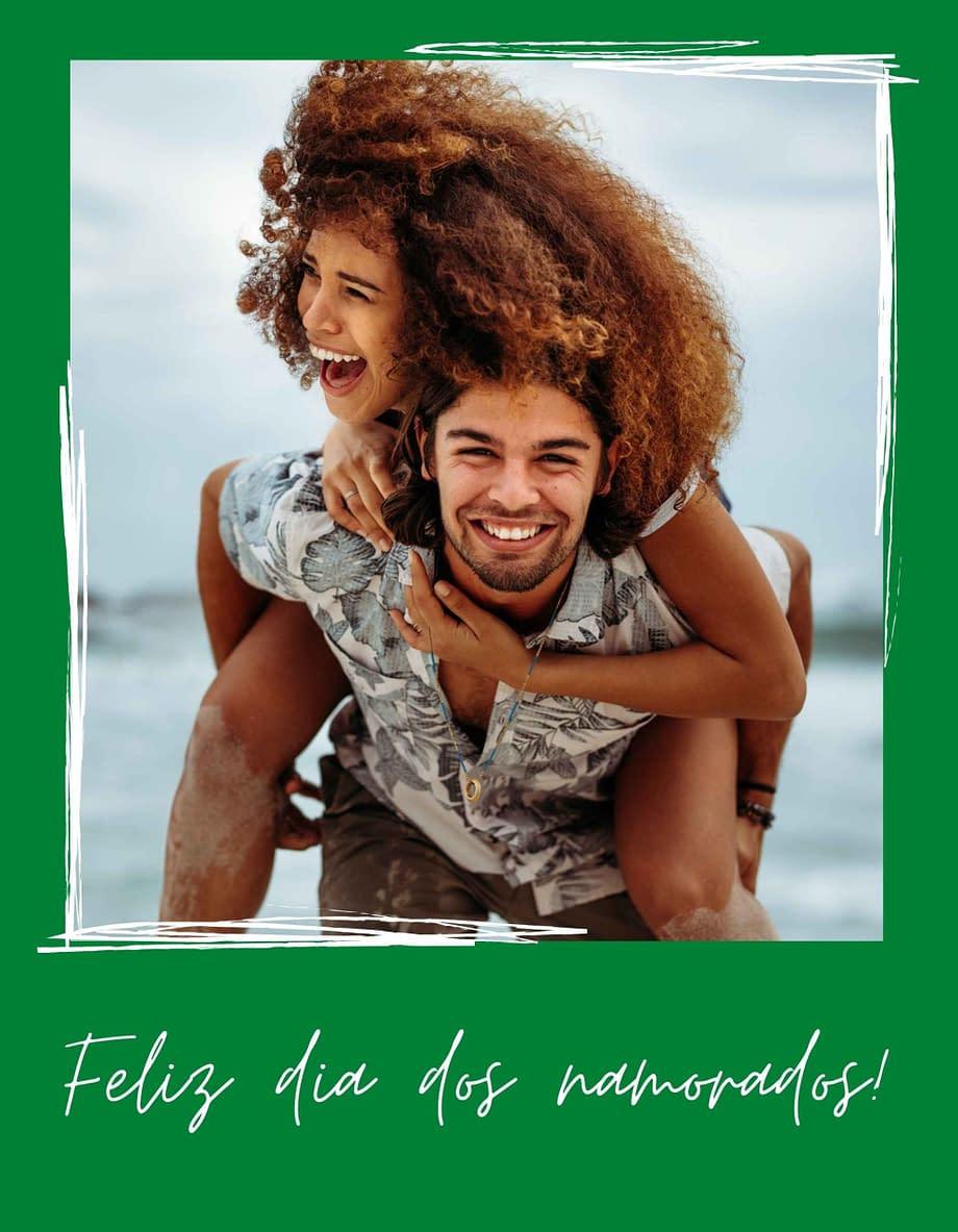 Rótulo de dia dos namorados, com foto em fundo verde